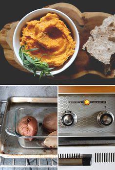 Falling for Sweet Potato Hummus - need organic lemon, 3 small sweet potatoes, chickpeas, cumin, olive oil, garlic; mynewroots