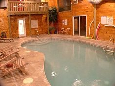 Indoor heated pool just in time for winter at this 4 bedroom Gatlinburg cabin rental!    http://www.homeaway.com/vacation-rental/p143178