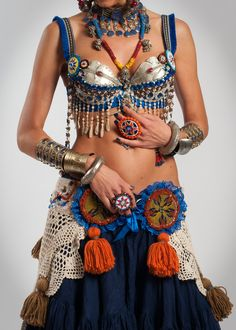 Tribal Belly Dance Bra Tribal Belly Dance Top Tribal Fusion Bra ATS Bra Belly Dance Bra with Fragrant Clove Beads - PARFUME D'ARRABIE. $220.00, via Etsy.