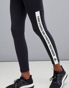 6e6ba3eac adidas Training - Leggings avec message et trois bandes de la marque - Noir