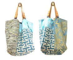 This reversible bag is unique. Strap this bag Lazuli combines 4 fabrics upholsterers high range, including a fabric Embroidered silk and linen, in shades of turquoise blue with ivory, silver and lime green details. Back side it has a version all in blue linen Navy with 2 large