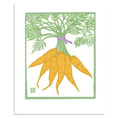 "Carrots - 8"" x 10"" block print reproduction. $15.00, via Etsy."