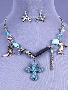 Cowgirl Bling Ranch, LLC - Western Cross Charm Necklace and Earring Set Patina, $13.99 (http://www.cowgirlblingranch.com/western-cross-charm-necklace-and-earring-set-patina/)