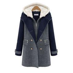 Fashion Woolen Double Breasted Slim Coat Deep Blue