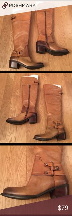 """New Vince Camuto OTK Boots New Vince Camuto OTK Boots. Tan and Brown OTK Boot Size 8 1/2 B. Leather with stacked 2"""" heel. Inner Zipper for easy on and off. These boots were initially purchased as a gift. However, they did not quite fit. They may have a few faint scuffs from shelf life but nothing noticeable. Vince Camuto Shoes Heeled Boots"""
