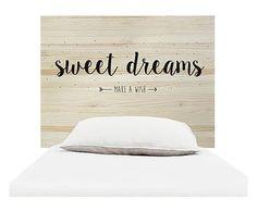 Testiera letto in legno Sweet Dreams naturale e nero, 105x80x3 cm