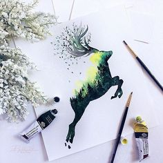 (@rosies.sketchbook) using up some more green paint with this double exposure deer watercolour painting.