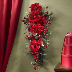 Poinsettia Teardrop Silk Plant Swag