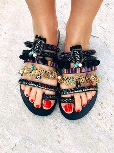 Boho Leather Sandals, Handmade Sandals, Greek Leather Sandals, Strappy Sandals, Slide Sandals, Women Slides, Bohemian Sandals, Boho Summer #etsy #shoes #leathersandals #bohosandals #slidesandals #handmadesandals #bohoflats #embellishedsandals