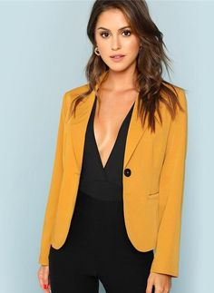 4737cf13abb5 Marnie Single Button Blazer Mustard Women s Office Elegant Blazer Fashion