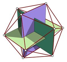 The points of an Icosahedron (one of the 5 Platonic Solids) an be made by intersecting 3 Golden rectangles (based on the proportion Phi - 1:1.618 - the Golden Ratio). An icosahedron has 20 triangular faces, 30 edges and 12 vertices with five triangular faces meeting at each vertex.