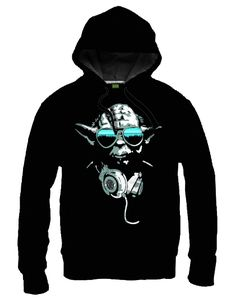 Sweat-Shirt Star Wars Noir à Capuche DJ Yoda Cool - Sweat-Shirts Geek/Sweat-Shirts Films - Logostore