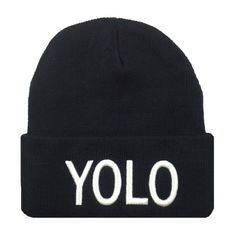 Yolo Beanie (785 UYU) ❤ liked on Polyvore featuring accessories, hats, beanies, toucas, black, beanie cap hat, cotton beanie hats, cotton beanie, cotton hat and beanie hat
