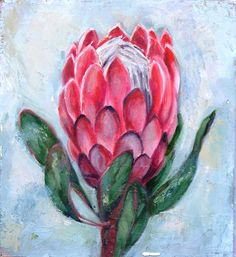 Oilpainting by R. Visage Protea Art, Protea Flower, Abstract Canvas Art, Abstract Oil, Flower Canvas, Flower Art, Acrylic Painting Inspiration, Pink Painting, Floral Drawing
