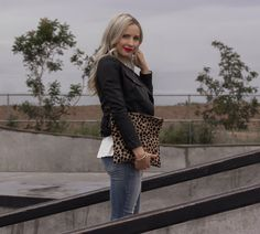 Clare V. Leopard Fold Over Clutch and Quilted Leather Jacket