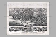 Plymouth MA Vintage Map  1882  Antique Ariel by VintageArtMasters