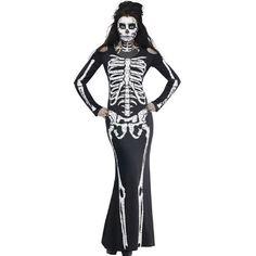 Long Skeleton Dress Adult Halloween Costume Black Cosplay Skull Performance Clothing exy Women Club Wear 2016 Gothic Costume
