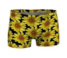 #Yellow #Floral #Gym #Shorts #Workout #Clothes  #Yoga #Clothing #Spandex #Exercise #Workout #Running #Fitness #Sportswear by WhimZingers on Etsy $28