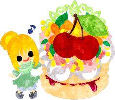 フリーイラスト素材可愛い女の子とさくらんぼのケーキ  Free Illustration A cute little girl and a cake of cherry   http://ift.tt/2pctekE