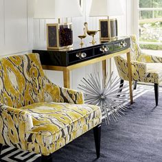 Parisian Panache. The French get it right: a classical, symmetrical foundation, oodles of black and gold, and a shock of color. #jonathanadler #interiordesign