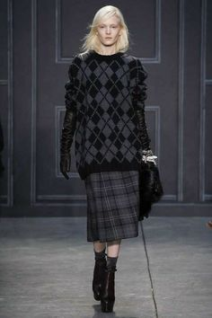 Vera Wang pairs plaids and argyles in oversized but proportional shapes for an all day everyday look. Adore the long length leather gloves and socks with classically Vera clunky black platforms as well.