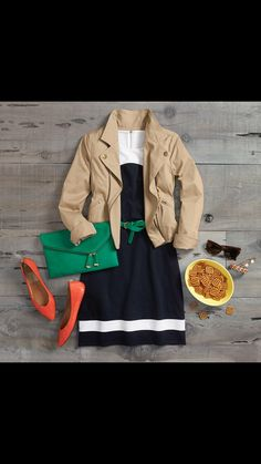 I really like everything about this outfit. The cute dress, jacket and bright shoes and clutch.