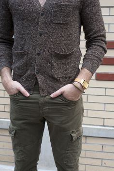 Pairings - slim fit cargos... Cargos by JBrand; Cotton/Silk/Linen cardigan by Club Monaco; Watch and band by Brera Orologi; Railroad spike cuff by Giles & Brother.