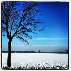 Lake Calhoun, Minneapolis, MN. Frozen over right now. Jan 5, 2012.