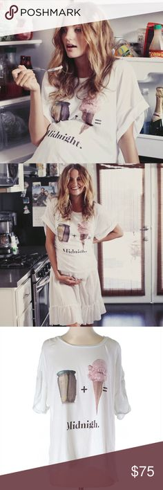 """🍦RARE Wildfox Pickles + Ice Cream Maternity Tee 🌈🦄 I LOVE OFFERS!!! Please make me one! 🌈🦄  This ADORABLE Wildfox Pickles + Ice Cream = Midnight Maternity Tee is from an exclusive Wildfox X A Pea In The Pod collaboration from summer 2014. Super rare, I haven't seen this tee anywhere on Posh (or even elsewhere, yet). It measures 26"""" long and is a size S, but if you're not using it for maternity it will fit quite oversized (like a M or L). It's in perfect preowned condition, with no flaws…"""