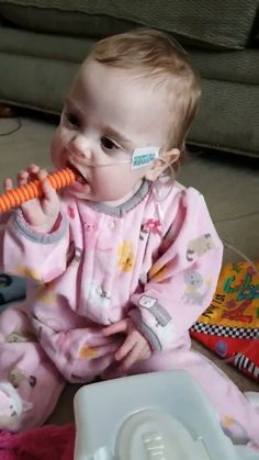 """""""This teething tube has been a lifesaver! My daughter was a micro-preemie born at 23 weeks gestation. She is now 10 months adjusted . So Cute Baby, Cute Funny Babies, Funny Kids, Baby Love, Cute Kids, Beautiful Children, Beautiful Babies, Little Babies, Baby Kids"""
