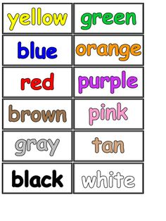 colour name printable