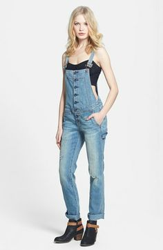 Free People Button Front Denim Overalls available at #Nordstrom