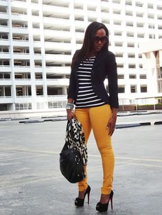 I love everything about this outfit from the striped tee to the fitted blazer to the boldly colored pants. I would rock this every day twice on Sundays. I Love Fashion, Passion For Fashion, Work Fashion, Women's Fashion, Street Fashion, Fashion Outfits, Fashion Tips, Fashion Trends, Mustard Jeans