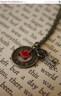 ON SALE Alice in Wonderland Necklace - Painting the Roses Red with Clock and Key. $12.00, via Etsy.