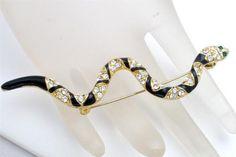 Snake Serpeant Black Enamel Rhinestone Figural Vintage Gold Estate Brooch Pin | eBay