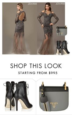 """Grey"" by tinaground ❤ liked on Polyvore featuring Jimmy Choo and Prada"