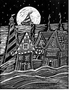 Whimsical, Folk Art, Original Scratchboard, Lighthouse, Village and The Moon. $50.00, via Etsy.