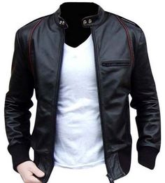 Black real cowhide leather with soft and warm lining inside, jacket with one pocket on chest and two side pockets, Ykk zipper used with quality stitching, it has excellent look with jeans, color varia..