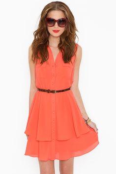 peach. shirt. dress.