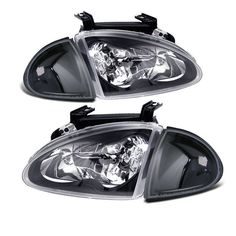 For 93-97 Honda Del Sol Jdm Black Crystal Headlights + All Black Corner Lights