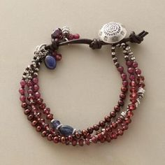 TINTO BRACELET -- Iolites, sapphires and sterling silver are highlights within a multi-strand garnet bracelet featuring a rosy mix of gems: garnets, plus tinted jade and cultured pearls. A handcrafted exclusive. Button and leather loop closure. Garnet Bracelet, Gemstone Bracelets, Handmade Bracelets, Jewelry Bracelets, Jewelery, Custom Jewelry, Diy Jewelry, Beaded Jewelry, Handmade Jewelry