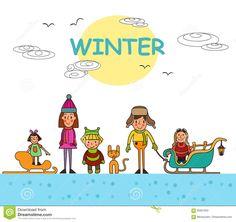 Дети играя Outdoors в зиме изолированной на белой предпосылке Ve Иллюстрация вектора - изображение: 95907832