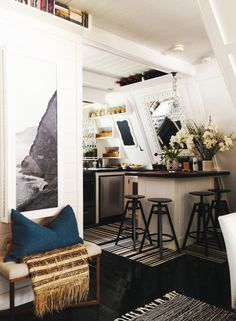 Top 20 Before & Afters of All Time: A-Frame Cottage Renovation (Design*Sponge) Home Design, Küchen Design, Interior Design, Design Miami, Luxury Interior, Design Ideas, A Frame Cabin, A Frame House, Small Living