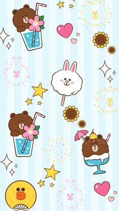 Line Frend 布朗 可妮 壁纸 Lines Wallpaper, Kawaii Wallpaper, Iphone Wallpaper, Kakao Friends, Friends Wallpaper, Line Friends, Line Sticker, Cute Cartoon Wallpapers, Cute Love