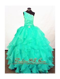 Turquoise Organza Beading Little Girl Pageant Dresses Customize  http://www.fashionos.com  http://www.facebook.com/quinceaneradress.fashionos.us  The bodice is adorned with beaded details all over. The ruched waist is embellished with a sparkling brooch in the middle. Tiers of tulle ruffles completes the full skirt.