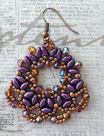 """ALESSIA'S FAN EARRINGS   15/0 seed beads Toho """"Antique Silver"""" (711)  11/0 seed…"""