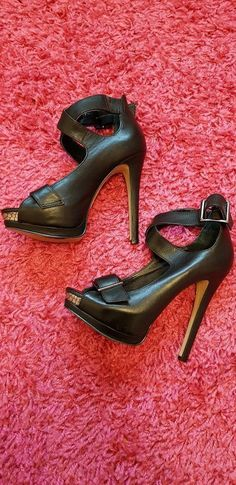 e35832501b2cac River Island Ladies Black Ankle Straps Open Toes High Heel Shoes Size 36   Shoeshighheels