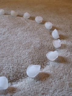 Remove indentions in the carpet left by furniture with ice cubes!