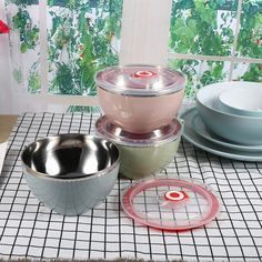 Food Container Tableware Heat Insulation Stainless Steel Noodle Bowl  Leak Proof Soup Fruit Rice Salad