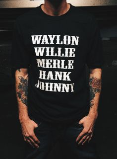 b135c30d THE ORIGINAL Waylon Jennings Merle Haggard Willie Nelson Hank Williams  Johnny Cash Country Legend (Hand Screen Printed) Tribute T-Shirt